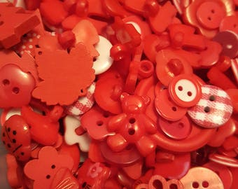 50g Button mix, Buttons, Craft buttons, Sewing buttons, Assorted buttons, Mixed buttons, Bulk buttons, Scrapbooking buttons, Red mix, Red