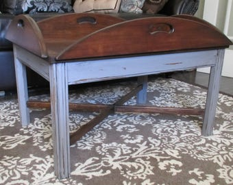 Vintage Tray Top Coffee Table Rustic Farmhouse Shabby Chic Gray Grey Aged Wood Oval Country Distressed Hinged Windowpane