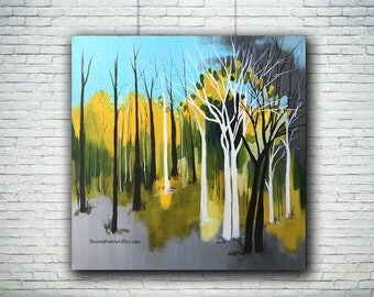 PRINT birch apsen trees abstract contemporary green turquoise acrylic canvas painting art home interior decor Shweta Patil Free shipping USA