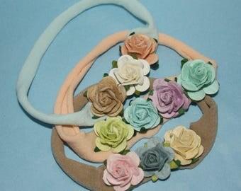 Pastel Neutral Thin Nylon Newborn Headband (3 Color Options)