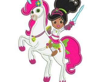 Nella the Princess Knight with the Unicorn Applique Design 3 sizes instant download