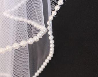 Beautiful Hand-Sewn Pearl Beaded Wedding Veil 2-Piece