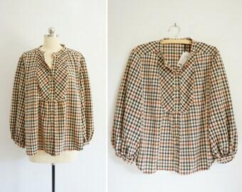 1970s Plaid blouse | vintage plaid top | vintage 70s top