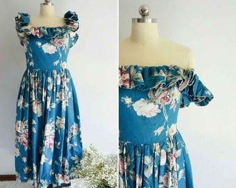 vintage Jardin off-shoulder dress | vintage 80s cotton dress | vintage floral dress