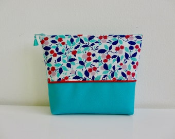 Vanity case TURQUOISE red faux leather and liberty of London flower