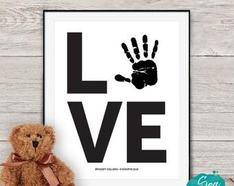 Personalized handprint art | Love handprint printable | Mother's Day gift under ten | Grandparent gift | Nursery art | 8x10 print for Mom