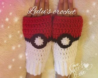 fingerless gloves pokebola- Complementos- Knitted Fingerless Mittens