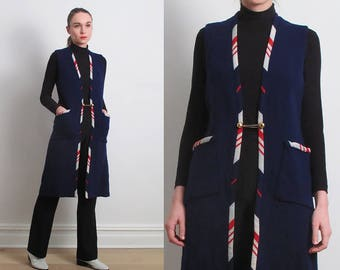 60s Navy Blue Long Wool Vest / S-M