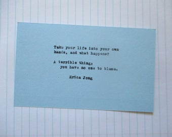 Erica Jong Hand typed vintage typewriter quote