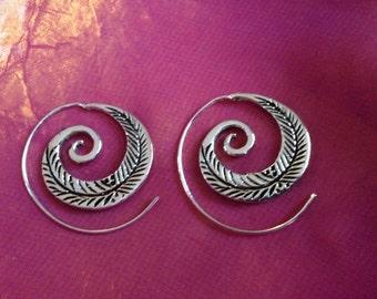 Spiral silver leaf earrings