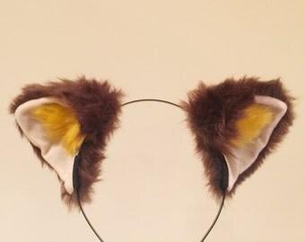 Cat ears Kitty Fox ears Nick Cosplay Headwear brown yellow Furry Animal Headband Costume