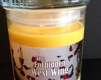 22oz Beauty and the Beast inspired The Forbidden West Wing, Rose scented candle with a mystery prize inside!