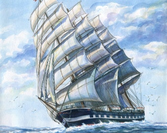 Ship bark Lauriston (Tovarisch) Watercolour Ship Original watercolor