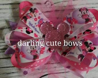 Minnie mouse hairbow minnie mouse bow minnie mouse hair bow disney princess hairbow