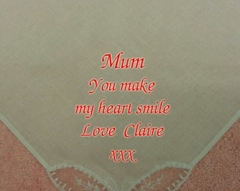 Personalised Embroidered Women Handkerchief Hankie Wedding Gift Mum Heart Smile Ladies Girl Family ANY MESSAGE