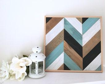 Chevron Wall Art - Tribal Pattern - Boho Decor - Geometric Art - Panel Art - Wood Art - Modern Wall Art - Beach House Decor - Wedding Gift