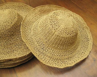 12 Open Weave Natural Straw Hat Bodies, 1980s