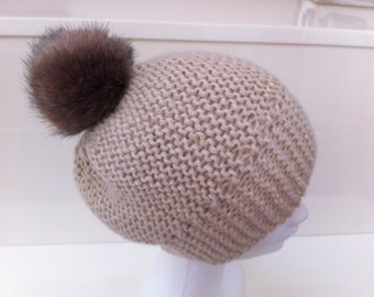 Beige hat and Golden Alpaca with Pompom yarn