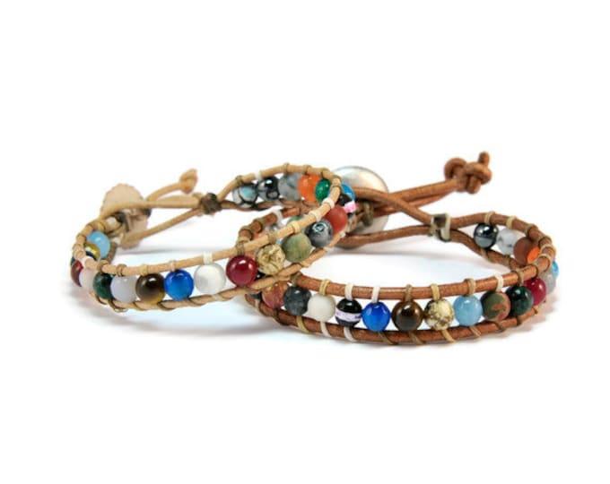 Boho Jungle * Unisex Colorful Semi Precious Stones Boho Style Single Wrap Bracelet