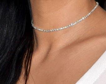 VERITY 1/2/3/4/6/8 Row Diamante Crystal Choker Necklace Rhinestone Choker Necklace Sparkle Choker Silver Necklace