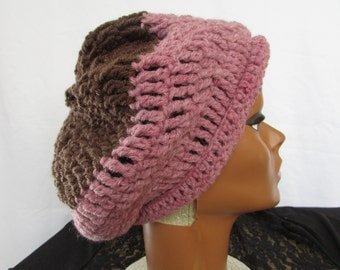 Uplift Rose Chocolate Adult Crochet Hat