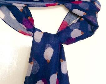 Hedgehog print scarf / women's lightweight scarf / woodland animal hedgehog gifts / blue and pink ladies scarf