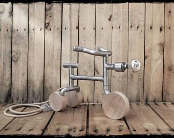 Industrial bike table lamp