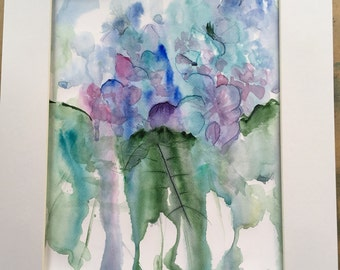 2 watercolour paintings of Hydrangas
