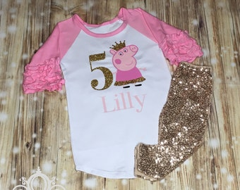 Peppa Pig Birthday Shirt, Ruffle Raglan with Sequin Pants, Personalized Monogram with Glitter Name and Age