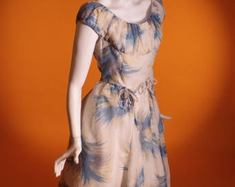 Vintage 1950's Blue & White Chiffon Prom Dress / Party Dress. By 'Dolly-Day London' UK Size 10 US Size 6 Reserved for Carly