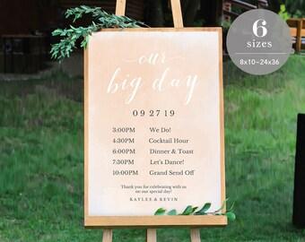 Wedding Timeline Sign Template, Wedding Program Sign Printable, Wedding Welcome Sign, Welcome Board PDF Template Instant Download #SPP038wtl