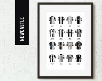 ICONIC Newcastle Classic Kits Team Print, Football Poster, Football Gift, FREE UK Delivery