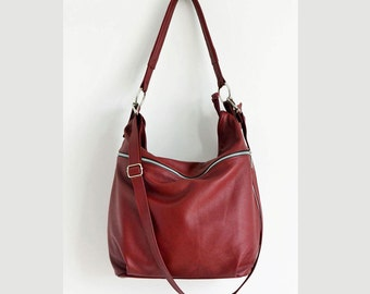 Burgundy Leather Hobo Bag,  Crossbody Bag - Everyday Leather, Shoulder Bag,Ready To Ship,Big Hobo Bag