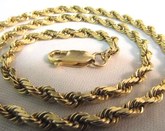 "14K Solid Yellow Gold Rope Chain Necklace Heavy, 16""Long  #770"