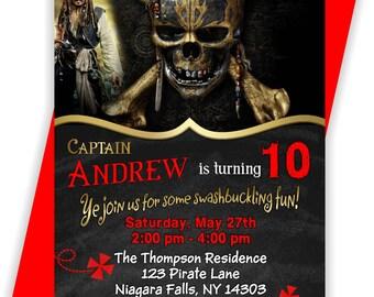 YOU PRINT - Pirates of the Caribbean Birthday Invitation, Pirates of the Caribbean Birthday Invite, Pirates Invite - BIRINV119