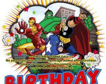INSTANT DOWNLOAD - Avengers Birthday Boy iron on, Avengers iron on, Avengers Birthday shirt decal, Avengers - AVENGERS2INSTANT