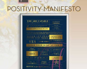 Positivity Manifesto Poster | Inspirational quotes | word art | typography manifesto | printable wall art | instant digital download