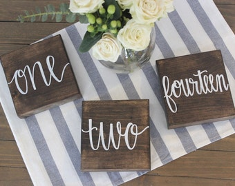 Table Numbers | Wedding Table Number | Centerpiece | Wedding Decor | Wood Sign | Rustic | Hand Lettered
