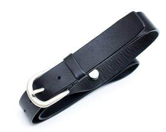 Leather Belt - Black - 4 cm - length 97cm