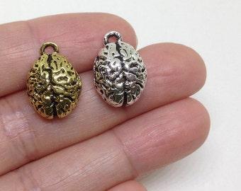 4 Pieces Human Brain Charm, Brain charm, Human Organ, Pewter Charms