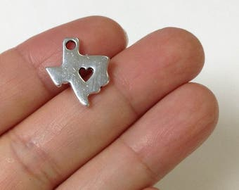 6 Love Texas Charm, Texas Map Charm, Texas Charm, Jewelry findings, Jewelry Supplies
