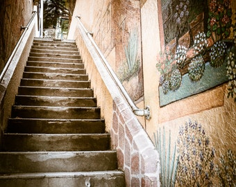 City Steps with Spanish Motif Wall Paintings Southwest Color