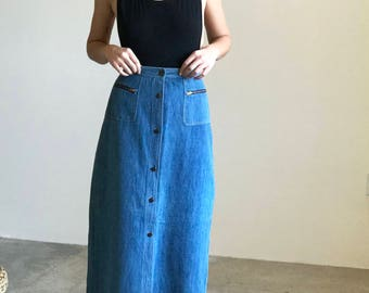 denim button up maxi skirt