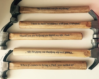 Wooden hammer personalised gift for Dad/Grandad
