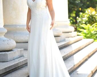 Wedding Dress/Lace Chiffon A-Line Backless Wedding Dress