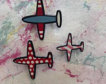 planes, aircraft, set of 3 airplanes, flying, plane, holiday, pin, brooch, enamel, charm