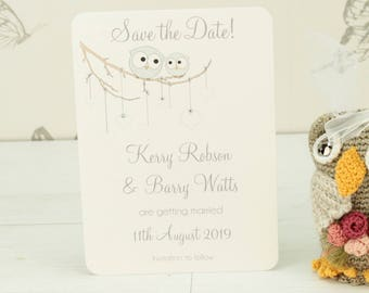 Personalised Owls Wedding Save the Date Card