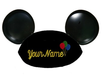 Black Mouse Ear Hat Personalized with Balloons and Your Name