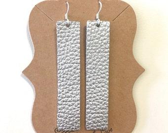 Silver {Leather} Bar Earrings