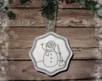 Felt Snowman Ornament in Gray